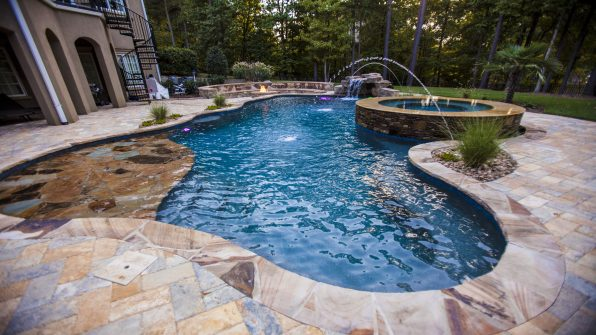Charlotte raleigh greensboro custom pools spa for Swimming pool supplies raleigh nc